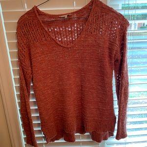 Coral Orange boho hippie Lucky Brand 🍀 Sweater